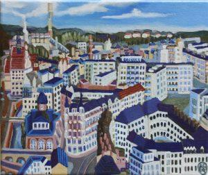 Chemnitzer Straßen 24cm x 30cm Öl Gemälde 2019