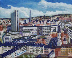 Chemnitz Auf dem Weg zum Nuschle 24cm x 30cm Öl Gemälde 2019