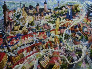 Als der Wirrwarr nach Altenburg Kam 2014. 90 x 120cm Öl Gemälde