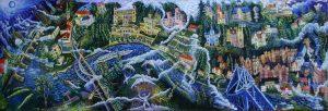 Dresden Der Blick von Oben 60x180 2013 Öl Gemälde
