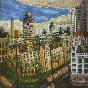Leipzig Neues-Rathaus 2004 40 x 40cm Öl Gemälde