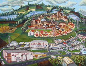 Gewerbe Gebiet Windischleube 1999 120cm x 150cm Öl Gemälde