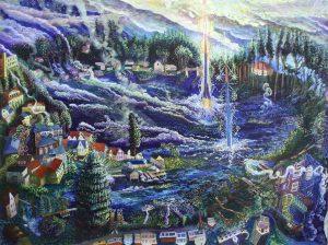 Flechen Sechlin, Schwarze See 2011 90x120cm Öl Gemälde