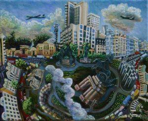 Hyde Park Roundabout London 2014 24 x 30cm Öl Gemälde