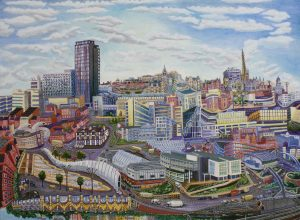 Sheffield Pond Street Bus Station 2016 90cm x 120cm Öl Gemälde