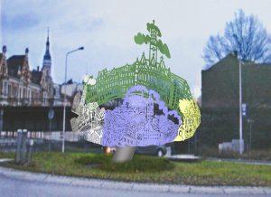 Entwurf für eine Kreisverkehr Insel . Ein Stadt und sein Partnerstädte. Stahlschnitt und Leuchtpigmente