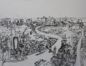 Towers of London 1. 90x120cm Charcoal 2019