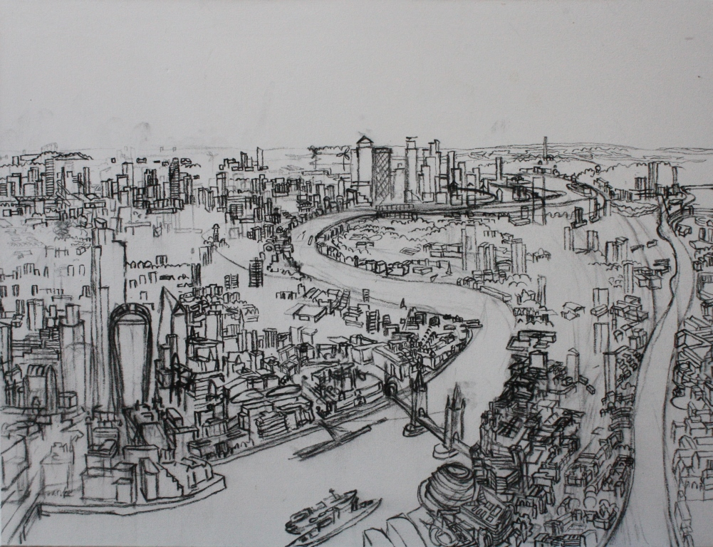 Towers of London. 1. 90cm x 120cm Charcoal 2019