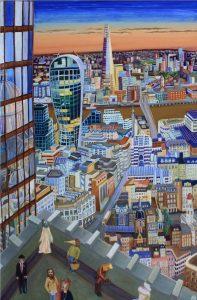 Sky lounge, Towers of London Nr3 2020 90cm x 60cm Öl Leinwand