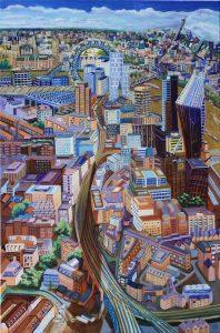 Tracks,Towers of London Nr 4 2020 90cm x 60cm Öl auf Leinwand